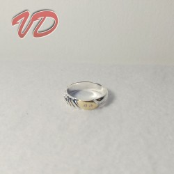 Silver ring with gold...