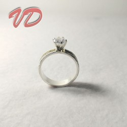 Silver edge ring with gold...
