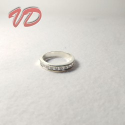 Silver ring with small gems...
